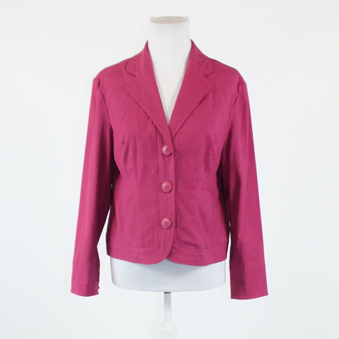Dark pink textured stretch cotton blend COLDWATER CREEK button front jacket 8P
