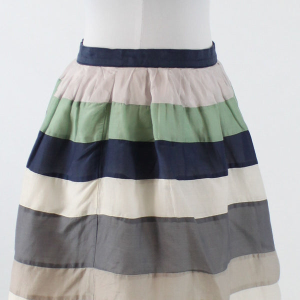 White blue gray seafoam green brown striped cotton silk FRENCHIC mini skirt S
