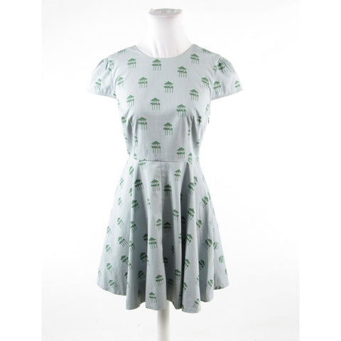 Gray green cotton CHARLOTTE TAYLOR cap sleeve A-line dress 4