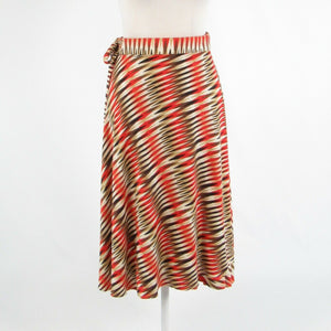 Brown orange geometric EVA FRANCO stretch wrap skirt OS-Newish