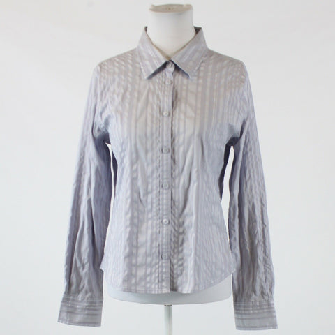 Lavender purple gray striped stretch KENNETH COLE NEW YORK button down blouse 12