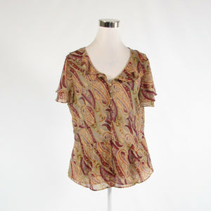 Beige red paisley LANE BRYANT semi-sheer shimmery short sleeve peplum blouse 14-Newish