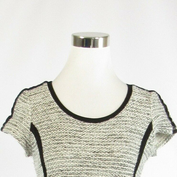 Heather gray white cotton blend ANN TAYLOR cap sleeve crewneck ribbed sweater S-Newish