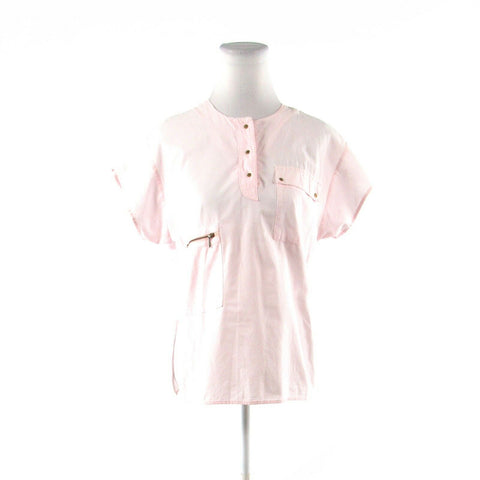 Light pink 100% cotton FRENCH ACCENT button chest short sleeve tunic blouse M
