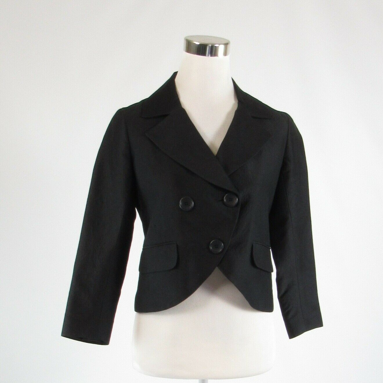 Black textured cotton blend THEORY 3/4 sleeve blazer jacket 4