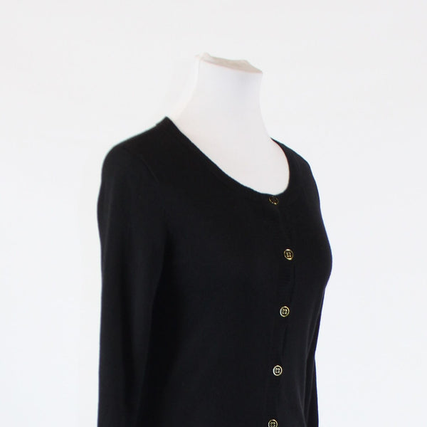 Black cotton blend NEW YORK and COMPANY 3/4 sleeve ribbed trim cardigan sweater S