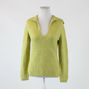 Light green cotton blend TALBOTS long sleeve collared V-neck sweater S