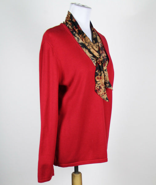 NINE WEST red cotton blend long sleeve V-neck removable neck decor sweater XL-Newish