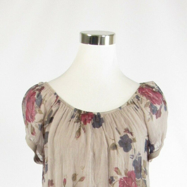 Taupe red floral print 100% silk MARINA GIGLI cap sleeve blouse M-Newish