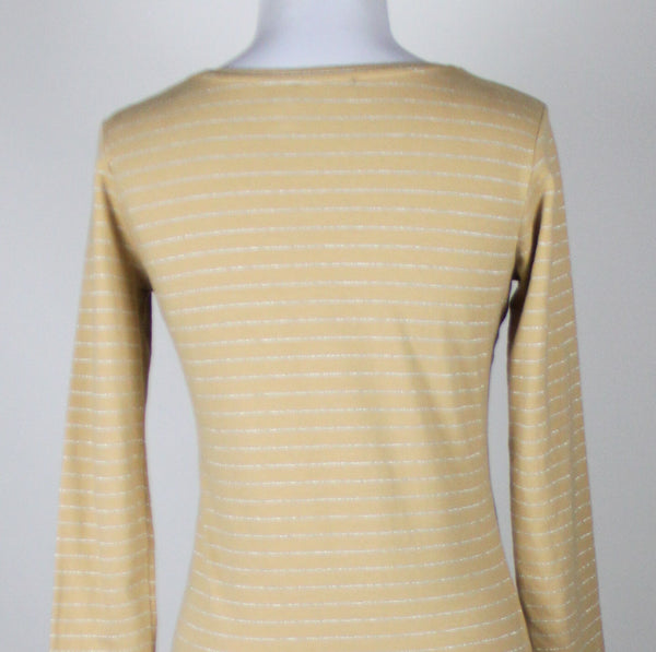THE LIMITED beige silver striped cotton blend 3/4 sleeve scoop neck blouse S-Newish