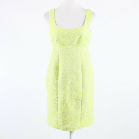 Bright green beige textured cotton blend NANETTE LEPORE sheath dress 6