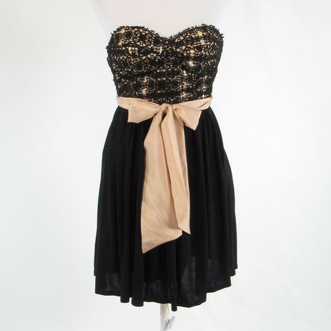 Black beige cotton blend ANTHROPOLOGIE LIL strapless A-line dress 0 NWT $258.00
