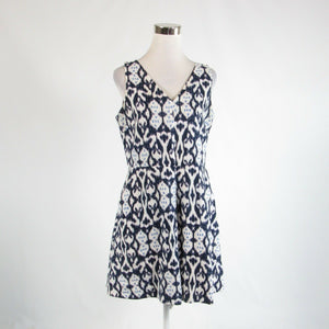 Navy blue white ikat 100% linen GAP sleeveless A-line dress 10-Newish