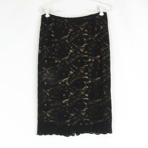 Black brown cotton blend lace NEW YORK and COMPANY pencil skirt 4