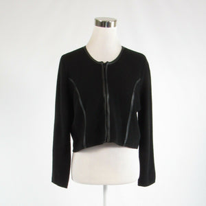 Black CALVIN KLEIN stretch long sleeve sweater jacket L