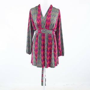 Fuchsia pink green chevron stretch TRACY NEGOSHIAN long sleeve A-line dress M