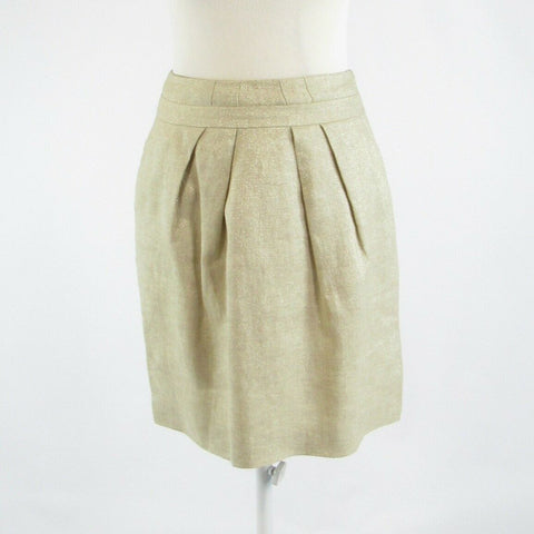 Metallic gold linen blend TALBOTS pencil skirt 2P-Newish