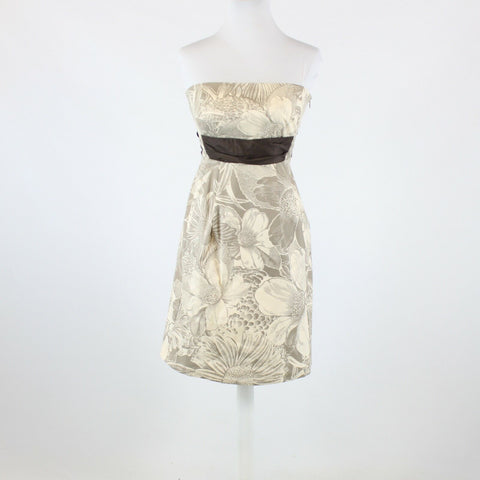 Light beige taupe floral print cotton ANTHROPOLOGIE MAEVE strapless dress 2