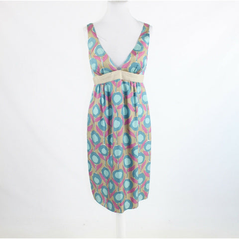 Beige blue floral 100% silk NICOLE MILLER COLLECTION sleeveless empire dress 10