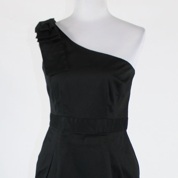 Black cotton blend FRENCH CONNECTION one shoulder above knee dress 8