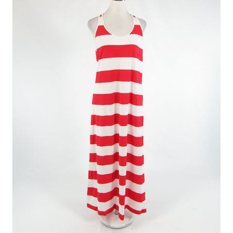 Red white striped cotton blend TOMMY BAHAMA sleeveless maxi dress M