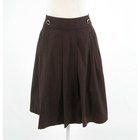 Brown cotton blend TORY BURCH pleated skirt 2-Newish