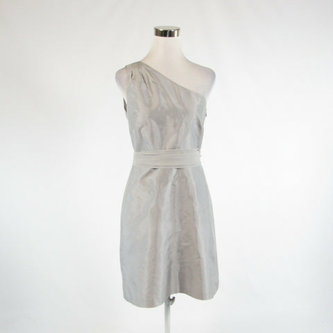 Light gray 100% silk ANN TAYLOR sleeveless one shoulder dress 6
