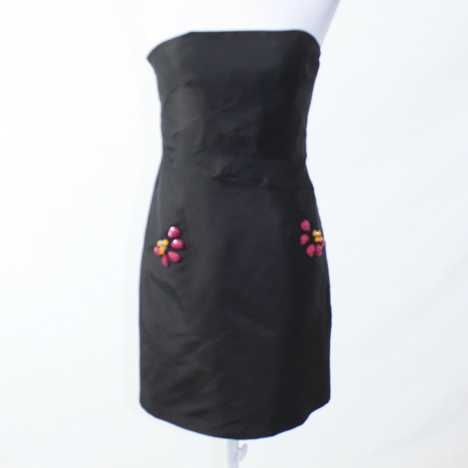 Black 100% silk CLAUDE BROWN rhinestone trim strapless sheath dress 4 NWT-Newish