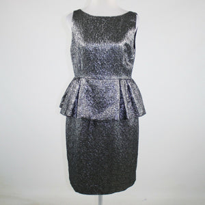KATE SPADE Andi metallic silver black textured peplum dress 12 NWT $448-Newish
