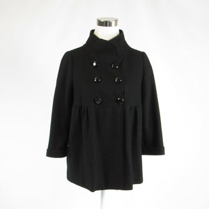 Black wool blend PIKO 1988 double breasted 3/4 sleeve jacket S-Newish