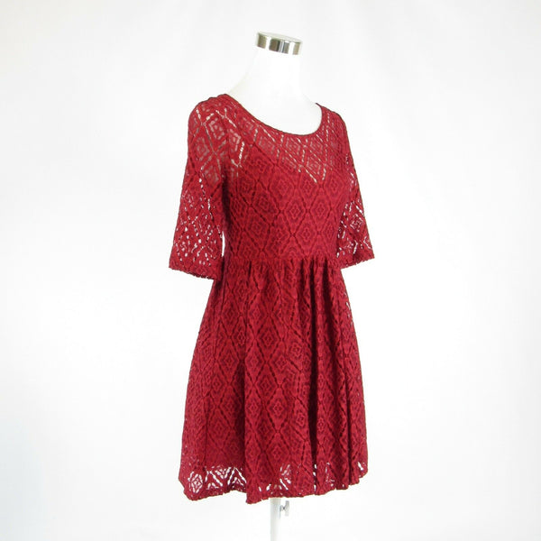 Red lace PLENTY BY TRACY REESE stretch 1/2 sleeve A-line dress 4 NWT-Newish