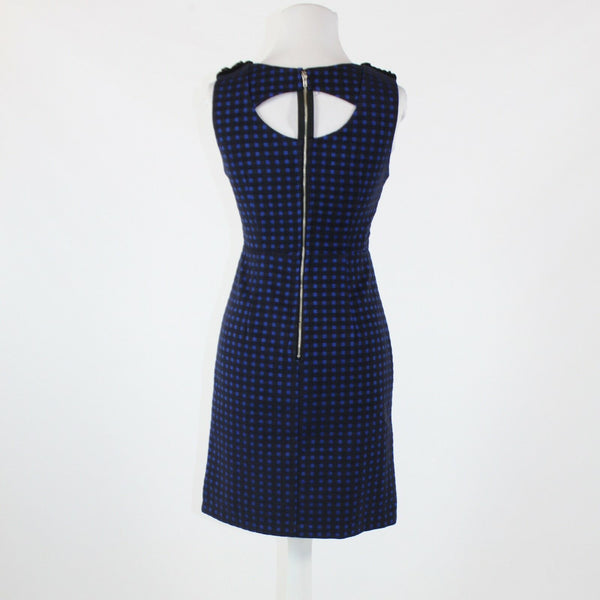 Black blue checkered ESLEY sleeveless smocked neckline scoop neck sheath dress S
