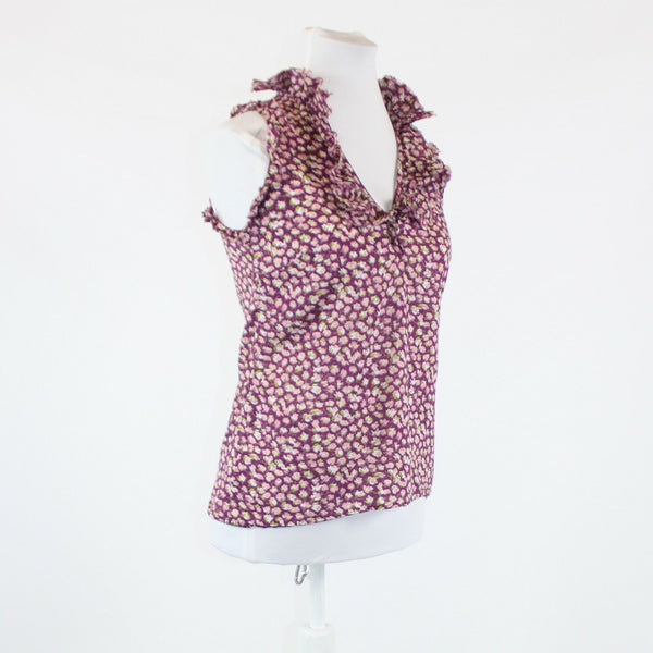 Purple pink floral print button chest 100% cotton ANN TAYLOR LOFT tank top PXS
