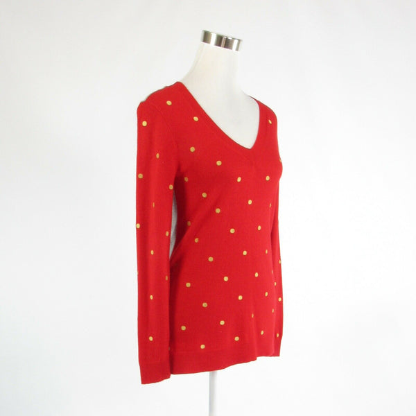 Red gray polka dot J. CREW long sleeve V-neck sweater XS-Newish