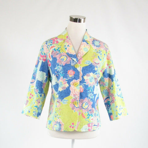 Bright green blue floral print linen blend COLDWATER CREEK blazer jacket PS