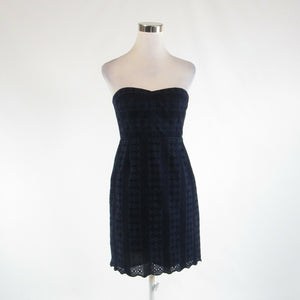 Navy blue eyelet J. CREW embroidered trim sleeveless sheath dress 6P