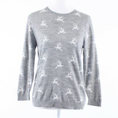 Gray white animal print ANN TAYLOR LOFT 3/4 sleeve crewneck sweater M