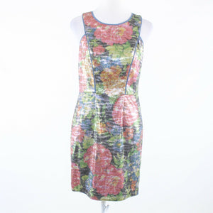 Pink blue floral print shimmery sequin JESSICA SIMPSON sleeveless sheath dress 6