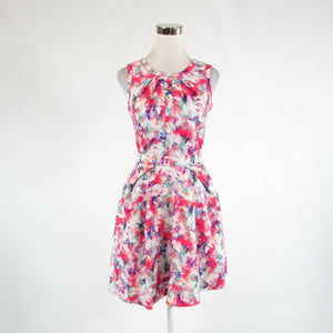 Pink red white floral print MCGINN sleeveless A-line dress 4-Newish