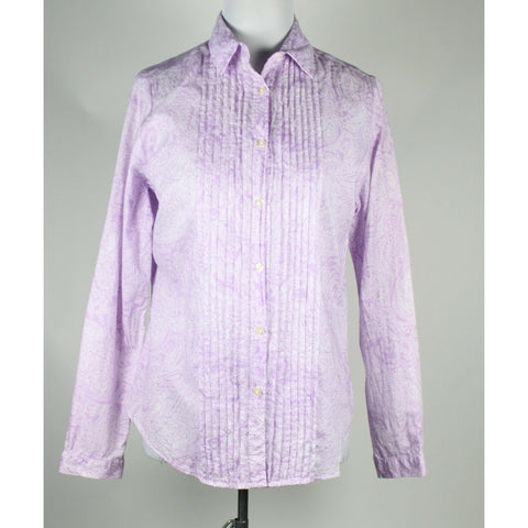 MARIE LUND purple & white paisley 100% cotton long sleeve button down shirt 8 M-Newish