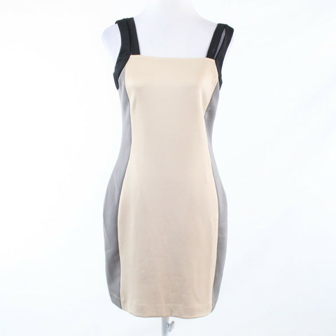 Beige gray color block BOSTON PROPER stretch sleeveless sheath dress 10 NWT