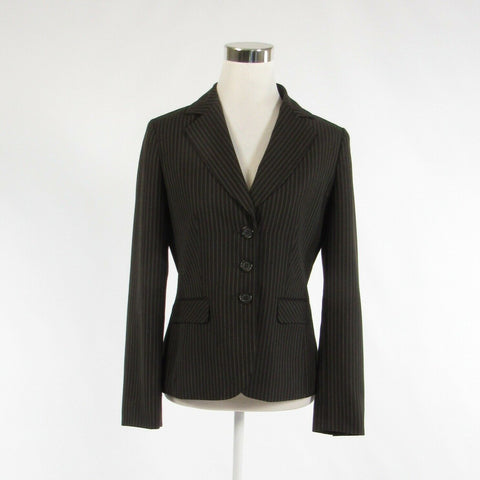 Charcoal gray ivory pinstripe wool blend ANN TAYLOR long sleeve blazer jacket 4-Newish