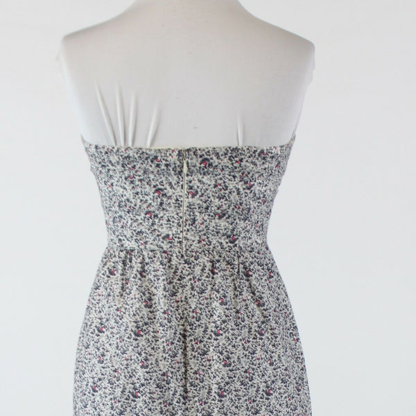 White gray floral print cotton silk J. CREW strapless empire waist dress 2