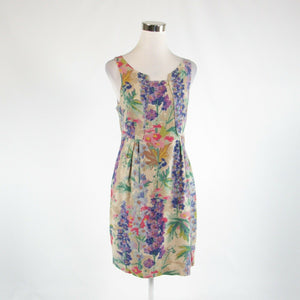 Beige purple floral print ANTHROPOLOGIE EDME and ESTYLLE sheath dress 4-Newish