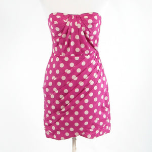 Orchid purple white polka dot ANTHROPOLOGIE LEIFSDOTTIR strapless sheath dress 2