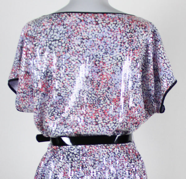 DKNYC white black lavender pink print short sleeve belted waist sequin dress S-Newish