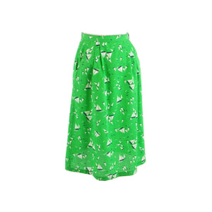 Green white sail boat print cotton MAGIC SPORTSWEAR INC. vintage skirt XS