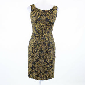 Black gold paisley cotton blend IVONNE sleeveless sheath dress 6