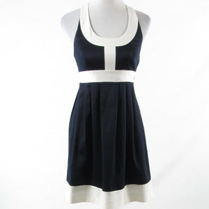 Navy blue white color block cotton blend ANNIE GRIFFIN sleeveless A-line dress 0