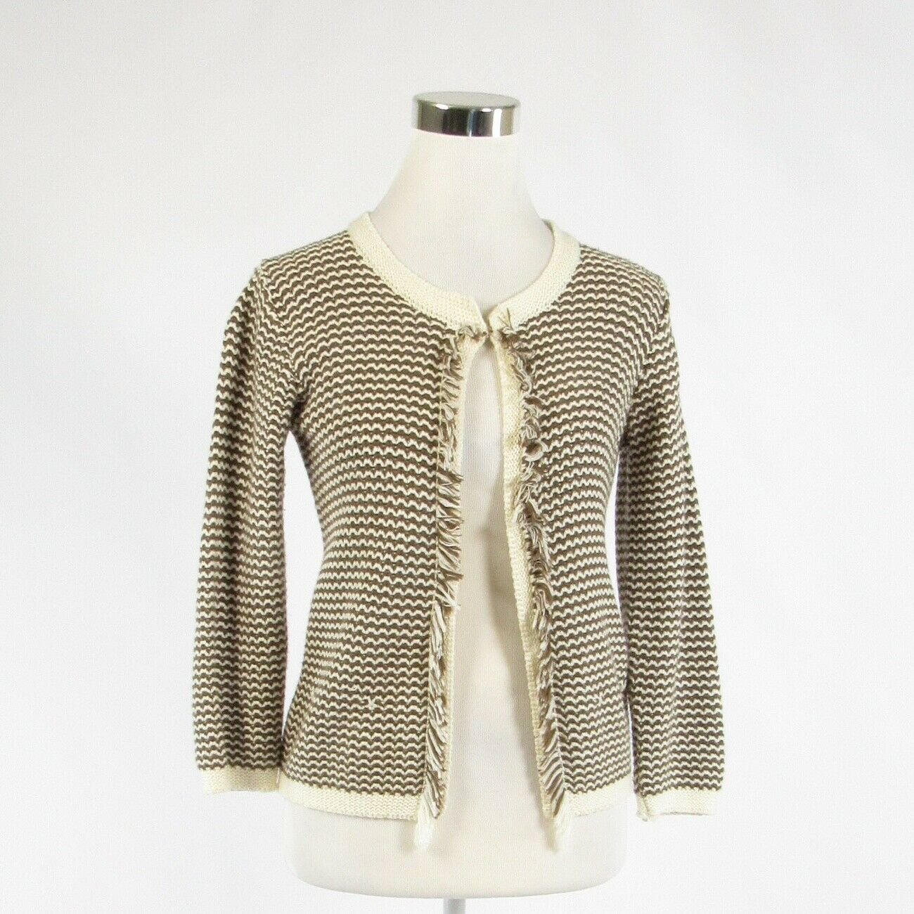 Brown ivory chevron cotton blend IPERICO 3/4 sleeve cardigan sweater M-Newish